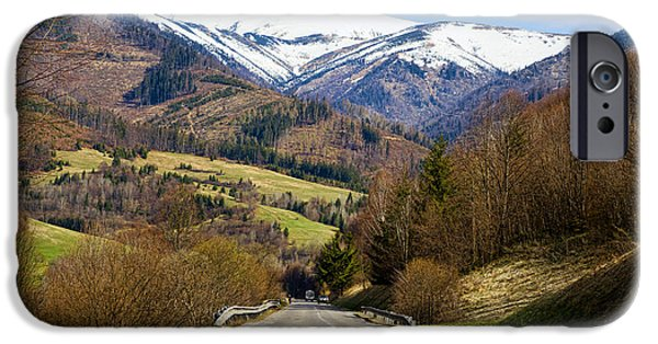 Mountain Road iPhone Cases - Mountain Road In A Valley, Tatra iPhone Case by Panoramic Images