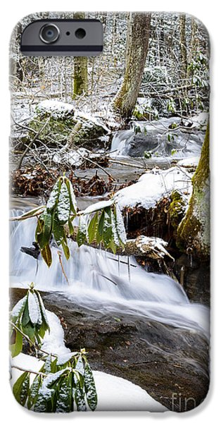 Oak Creek iPhone Cases - Mountain Stream in Winter iPhone Case by Thomas R Fletcher