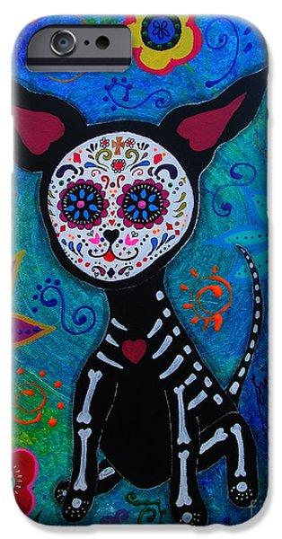 Bestfriend iPhone Cases - My Chihuahua Dia De Los Muertos iPhone Case by Pristine Cartera Turkus