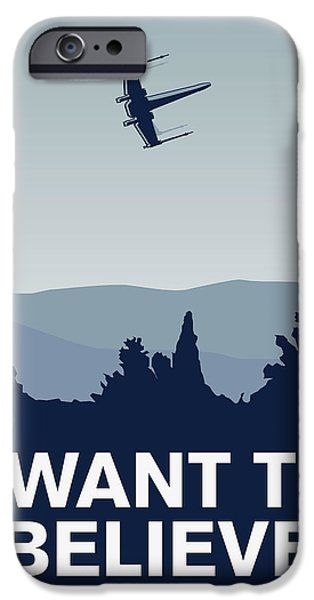 Xwing iPhone Cases - My I want to believe minimal poster-xwing iPhone Case by Chungkong Art