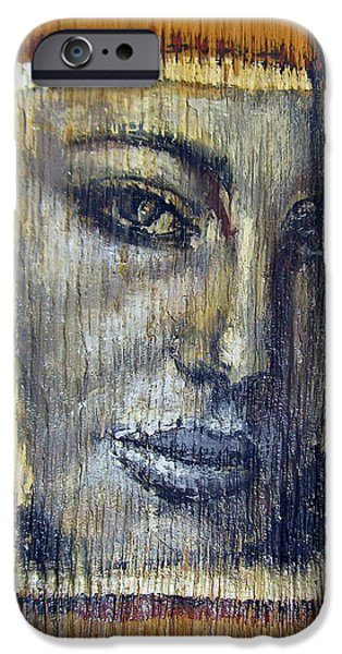 One Reliefs iPhone Cases - Mysterious Girl Face Portrait - Painting On The Wood iPhone Case by Nenad  Cerovic