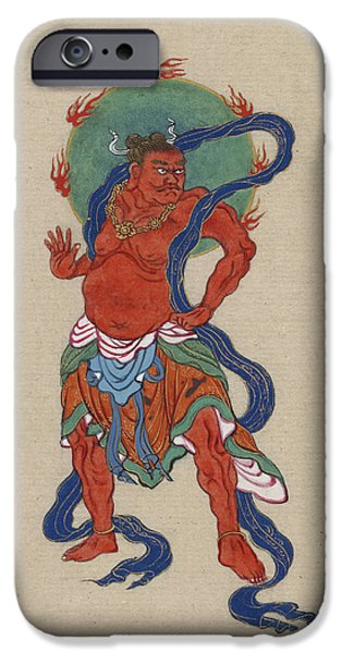 Mythological iPhone Cases - Mythological Buddhist or Hindu figure Circa 1878 iPhone Case by Aged Pixel