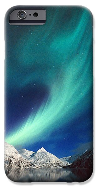 Portage iPhone Cases - N. Lights Over Portage Lake & Chugach iPhone Case by Daryl Pederson