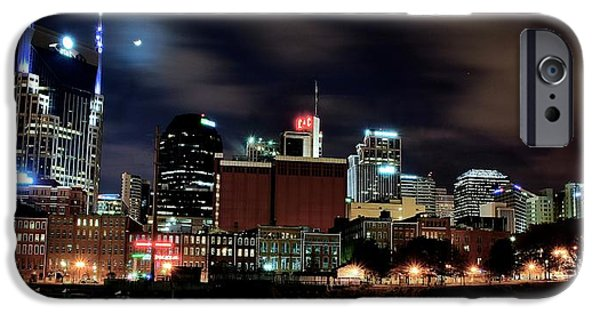 Nashville Skyline iPhone Cases - Nashville Panoramic View iPhone Case by Frozen in Time Fine Art Photography