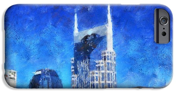 Nashville Tennessee Paintings iPhone Cases - Nashville Skyline iPhone Case by Dan Sproul