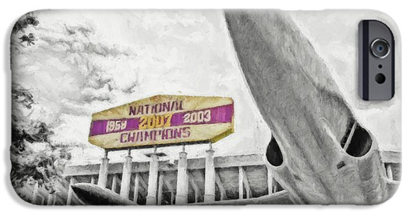 Tiger Stadium iPhone Cases - National Champions iPhone Case by Scott Pellegrin