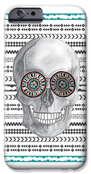 Graphic Design iPhone Cases - Navajo Skull iPhone Case by Susan Claire