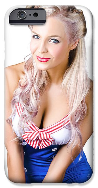 Youthful iPhone Cases - Navy pinup woman iPhone Case by Ryan Jorgensen