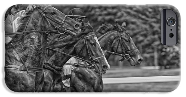 Horse Racing Photographs iPhone Cases - Neck and Neck iPhone Case by Mountain Dreams