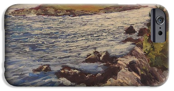 Windblown Paintings iPhone Cases - New England Coast iPhone Case by Bill Tomsa
