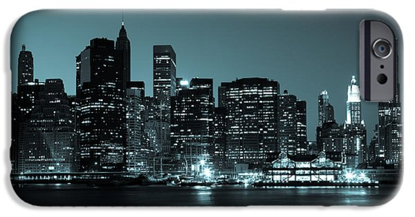 Hudson River iPhone Cases - New York - view  of Manhattan Skyline by night iPhone Case by Samuel Borges