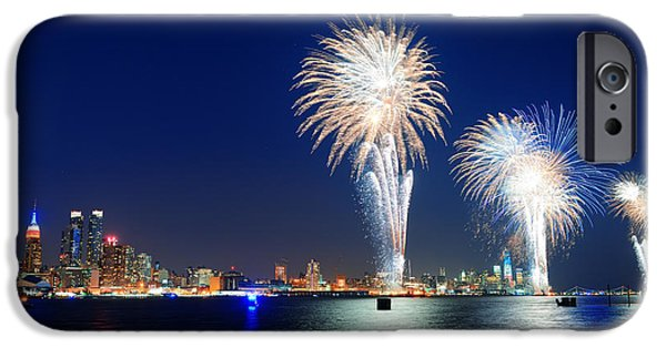 July iPhone Cases - New York City fireworks iPhone Case by Songquan Deng