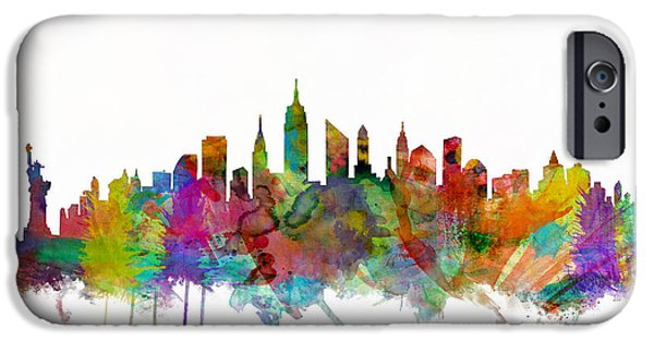 New York City iPhone Cases - New York City Skyline iPhone Case by Michael Tompsett