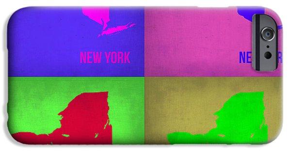 New York Digital Art iPhone Cases - New York Pop Art Map 1 iPhone Case by Naxart Studio