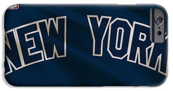 Jeter iPhone Cases - New York Yankees Uniform iPhone Case by Joe Hamilton