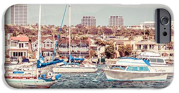 1960s iPhone Cases - Newport Beach Skyline Retro Panorama Photo iPhone Case by Paul Velgos