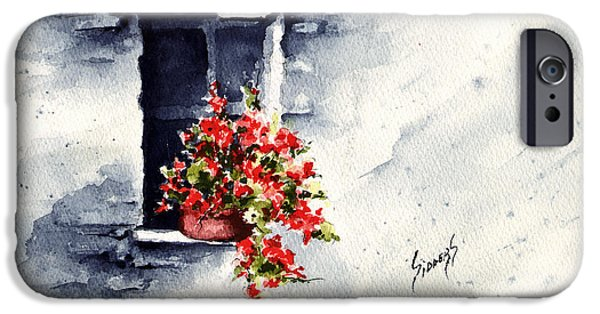 Pottery Paintings iPhone Cases - Niche With Flowers iPhone Case by Sam Sidders