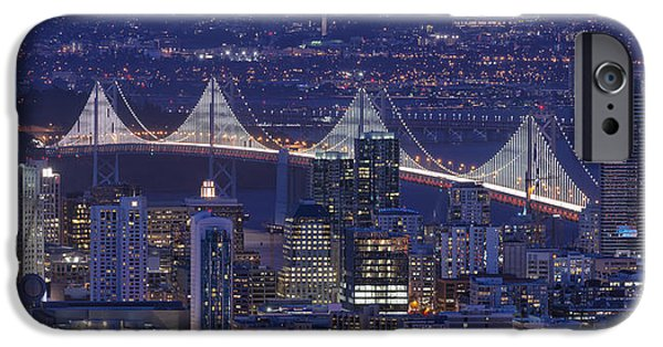 Bay Bridge iPhone Cases - Night Colors - San Francisco iPhone Case by David Yu