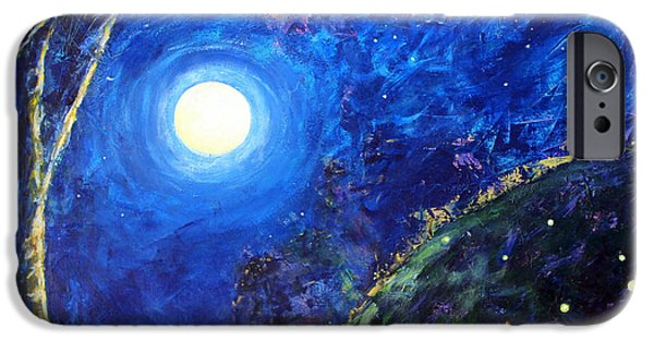 Moonscape iPhone Cases - Night Lilies iPhone Case by Mary C Farrenkopf