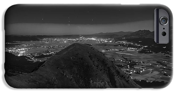 Japan Town iPhone Cases - Night over Aso Japan iPhone Case by Mountain Dreams