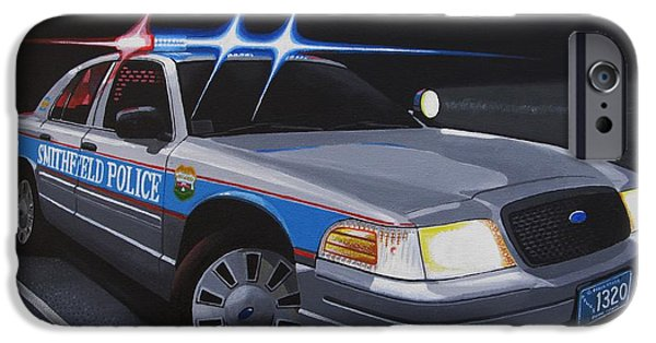 Police Cruiser iPhone Cases - Night Patrol iPhone Case by Robert VanNieuwenhuyze
