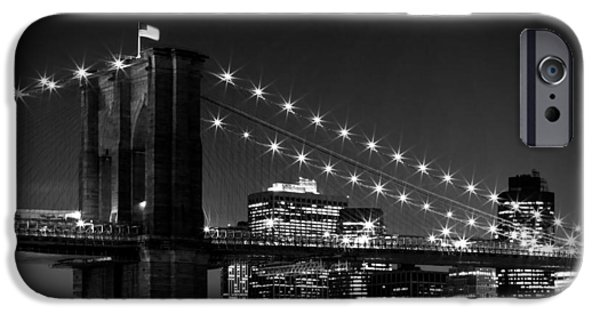 Facade Digital iPhone Cases - Night Skyline MANHATTAN Brooklyn Bridge bw iPhone Case by Melanie Viola