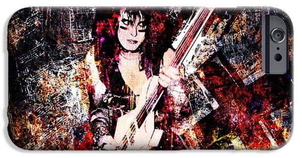 Bassist iPhone Cases - Nikki Sixx - Motley Crue iPhone Case by Ryan RockChromatic