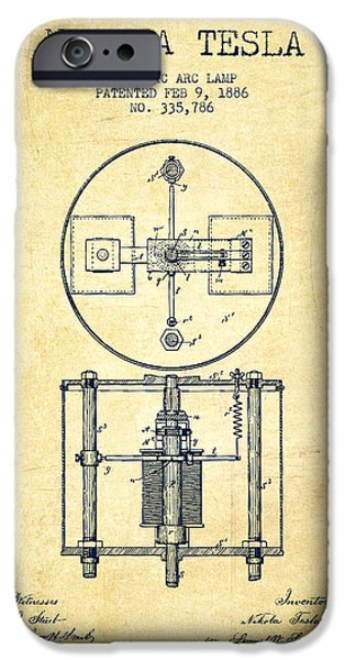 Electricity iPhone Cases - Nikola Tesla Patent Drawing From 1886 - Vintage iPhone Case by Aged Pixel