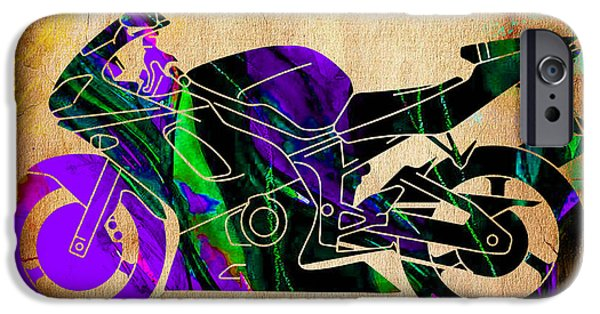 Racing iPhone Cases - Ninja Motorcycle Painting iPhone Case by Marvin Blaine