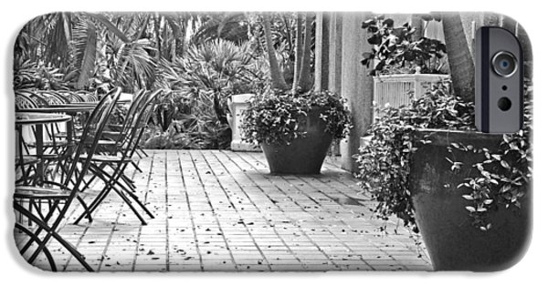 Patio Table And Chairs iPhone Cases - No Customers iPhone Case by GK Hebert Photography
