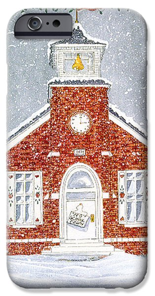 Snowy Day Mixed Media iPhone Cases - No school today iPhone Case by Sally  Evans