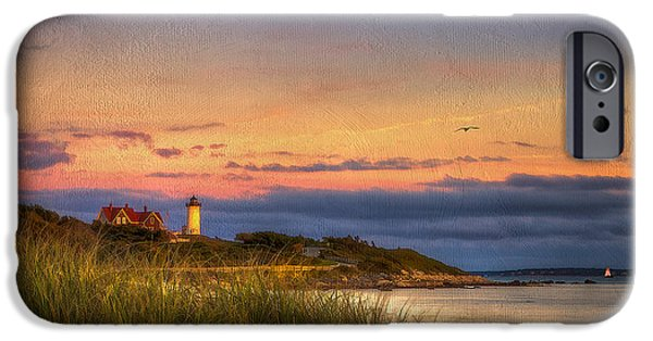 Cape Cod Mixed Media iPhone Cases - Nobska Light House iPhone Case by Michael Petrizzo