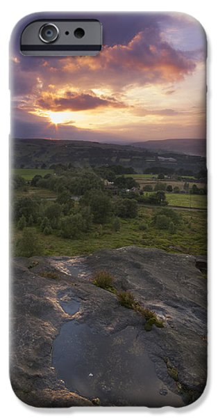 Meadow Photographs iPhone Cases - Norland moor sunset west yorkshire iPhone Case by Chris Smith