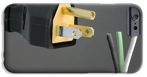 Electrical Equipment iPhone Cases - North American Mains Plug And Wiring iPhone Case by Sheila Terry