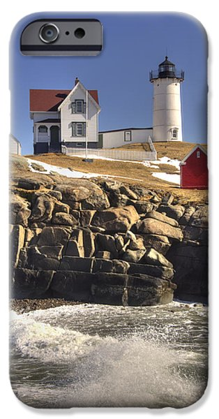 Nubble Lighthouse iPhone Cases - Nubble Lighthouse 3 iPhone Case by Joann Vitali