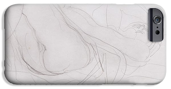 Feminine Drawings iPhone Cases - Nude iPhone Case by Auguste Rodin