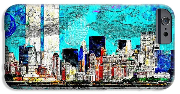 Twin Towers Nyc Digital iPhone Cases - NYC grunge iPhone Case by Daniel Janda