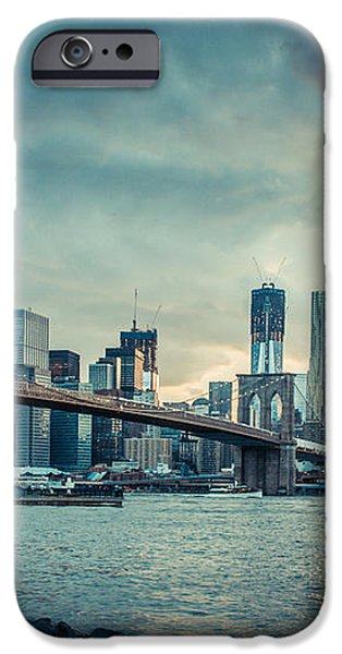 NYC skyline in the sunset v1 iPhone Case by Hannes Cmarits