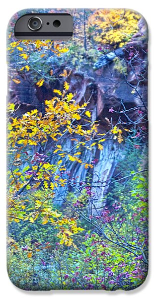 West Fork iPhone Cases - Oak Leaves by the Canyon Wall iPhone Case by Brian Lambert