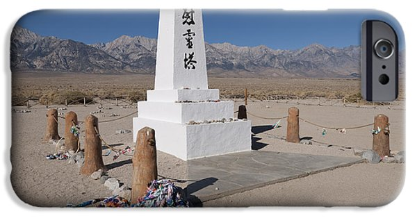 Historic Site iPhone Cases - Obelisk At Manzanar War Relocation iPhone Case by John Shaw