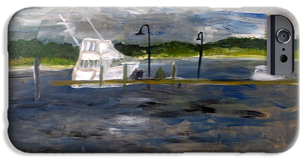 Boat iPhone Cases - Ocean Inlet Marina iPhone Case by Donna Walsh