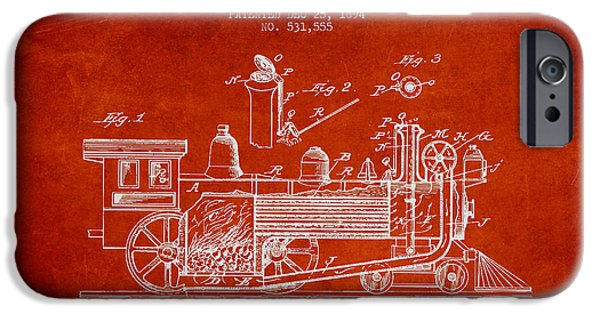 Technical iPhone Cases - ocomotive Patent drawing from 1894 iPhone Case by Aged Pixel