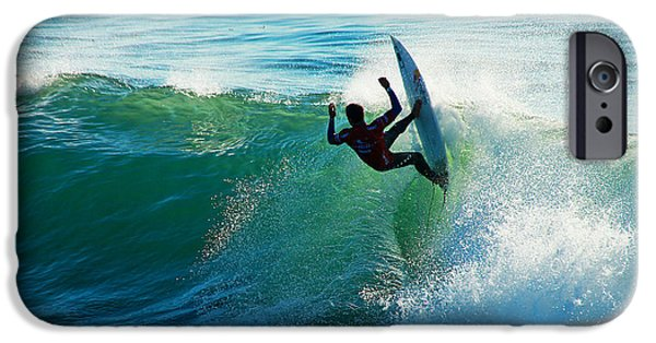 Santa Cruz Surfing iPhone Cases - Off the Lip iPhone Case by Paul Topp