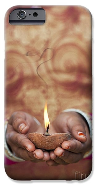 Oil Lamp Photographs iPhone Cases - Offering the light iPhone Case by Tim Gainey