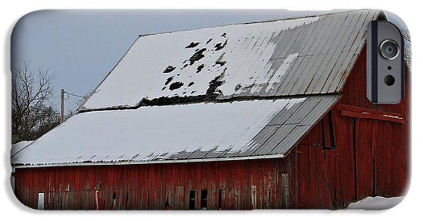 Barns In Snow iPhone Cases - Ohio Barn In Winter iPhone Case by Dan Sproul