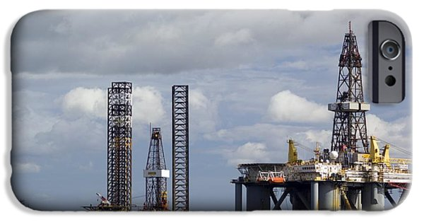 North Sea iPhone Cases - Oil Drilling Rigs, North Sea iPhone Case by Duncan Shaw