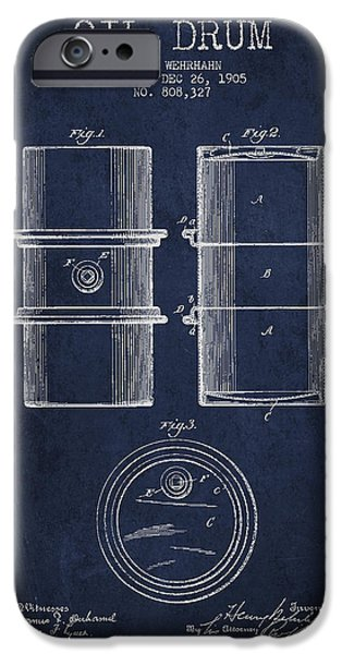 Industry Digital Art iPhone Cases - Oil Drum Patent Drawing From 1905 iPhone Case by Aged Pixel