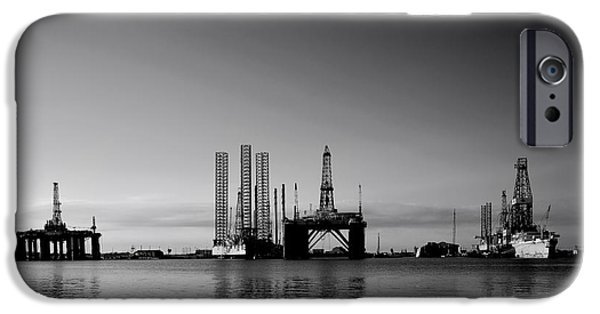 Energy Industry iPhone Cases - Oil Rigs in Galveston Texas iPhone Case by Mountain Dreams