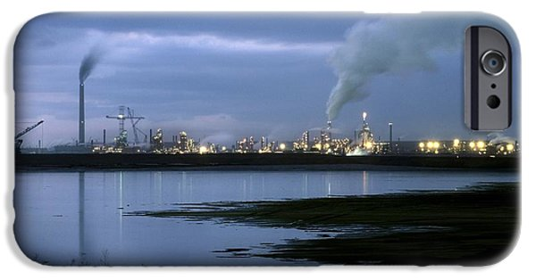 Water Pollution iPhone Cases - Oil Sands Refinery, Canada iPhone Case by Martin Bond