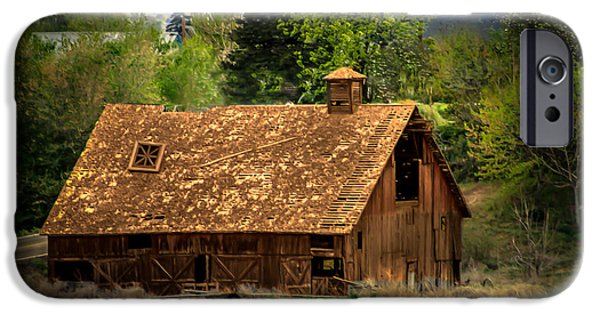 Haybale iPhone Cases - Old Barn iPhone Case by Robert Bales